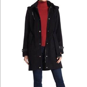 Michael Kors black leather trim belted coat